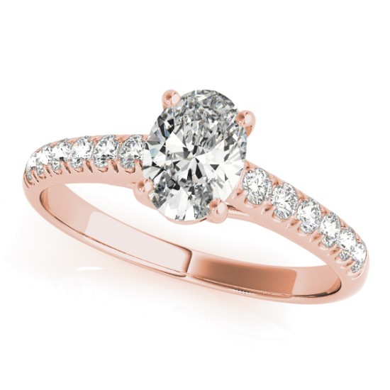 Oval Cut Diamond Engagement Ring 14K Rose Gold (0.39ct)