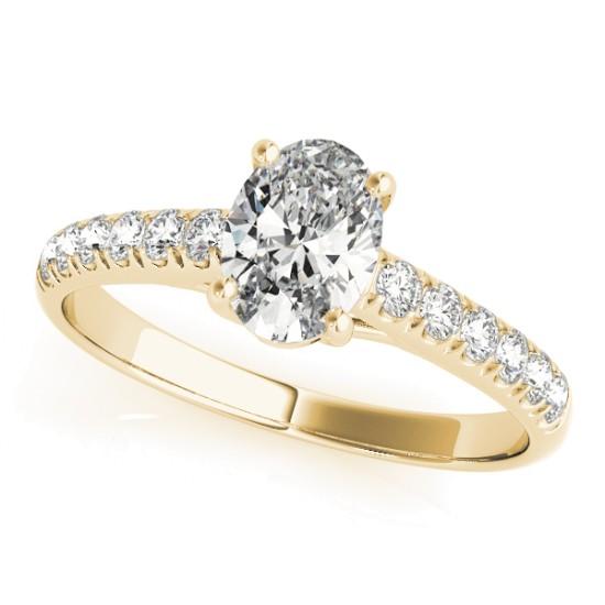 Oval Cut Diamond Engagement Ring 14K Yellow Gold (0.39ct)