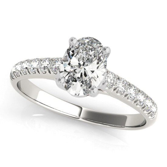 Oval Cut Diamond Engagement Ring 14K White Gold (0.61ct)