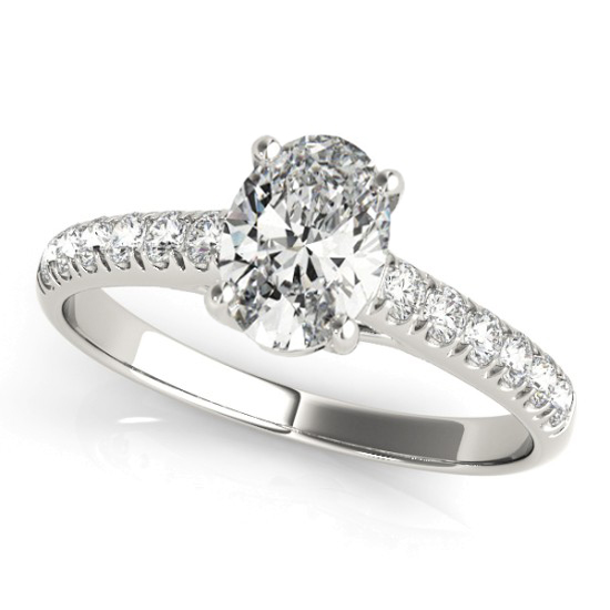 Oval Cut Diamond Engagement Ring 14K White Gold (1.00ct)