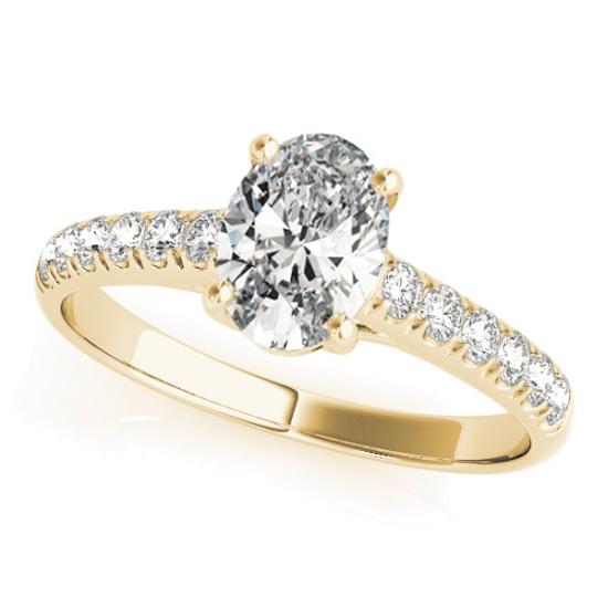Oval Cut Diamond Engagement Ring 14K Yellow Gold (1.46ct)
