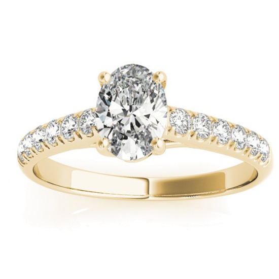 Diamond Accented Cathedral Engagement Ring 18K Yellow Gold (0.18ct)
