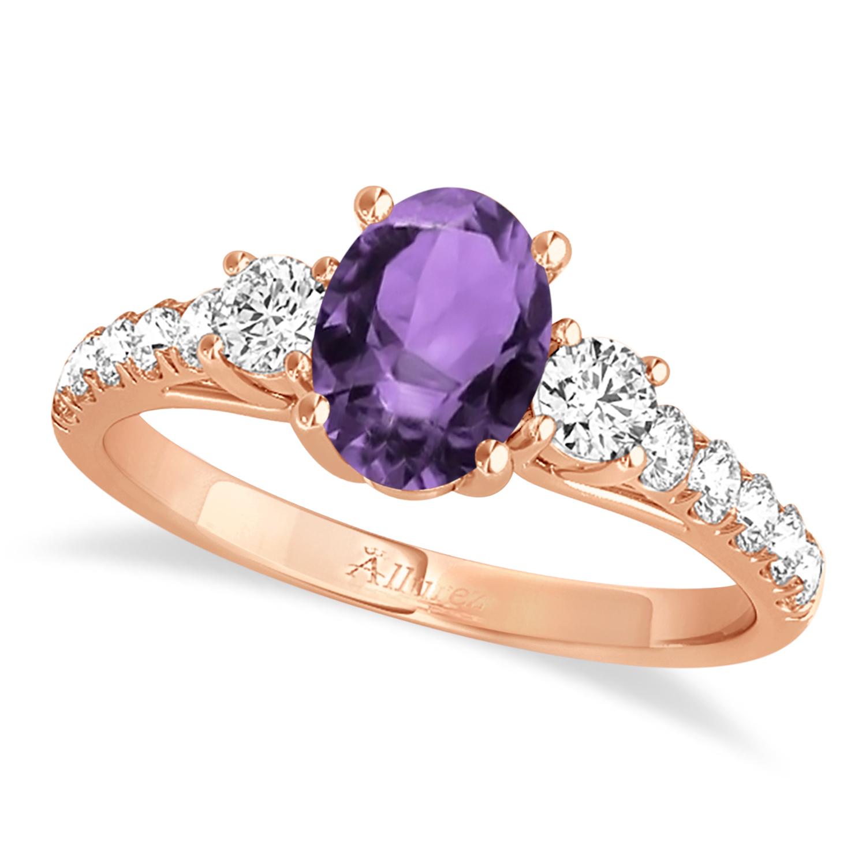 Oval Cut Amethyst & Diamond Engagement Ring 14k Rose Gold (1.40ct)