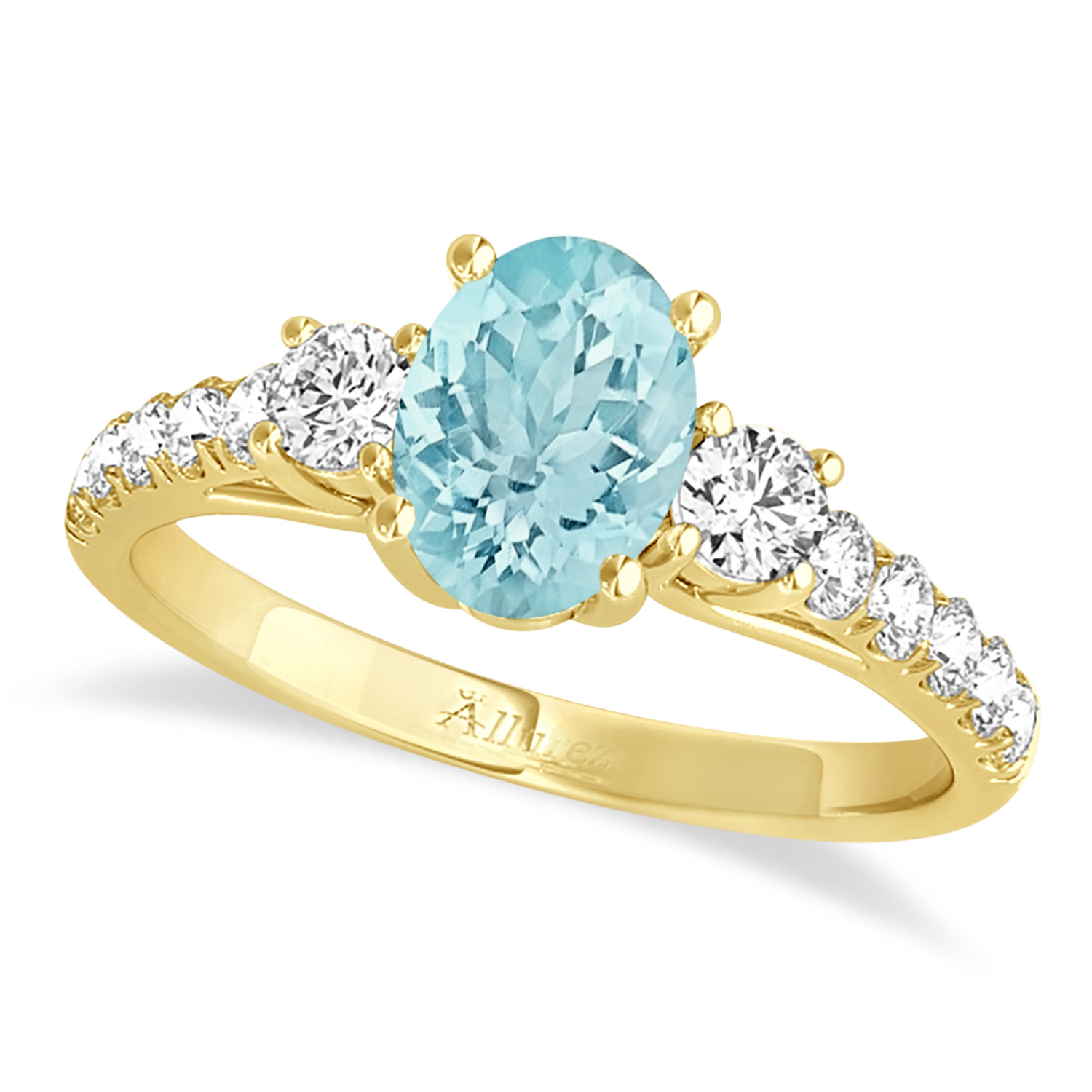 Oval Cut Aquamarine & Diamond Engagement Ring 14k Yellow