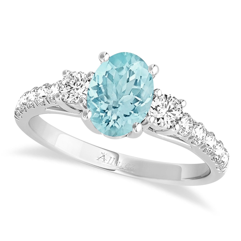 Oval Cut Aquamarine & Diamond Engagement Ring Palladium (1.40ct)