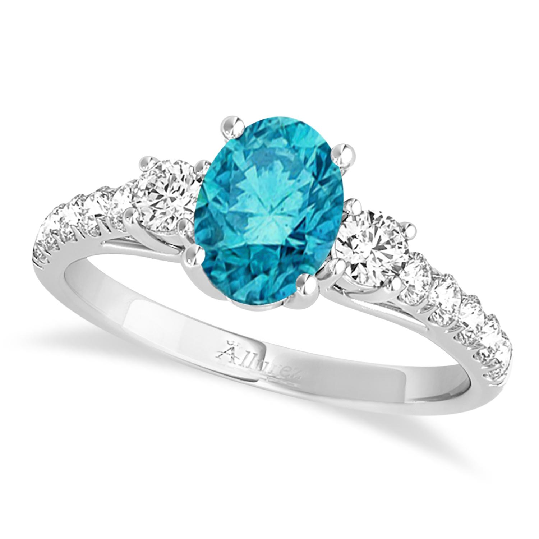 Oval Cut Blue Diamond & Diamond Engagement Ring 14k White Gold (1.40ct)