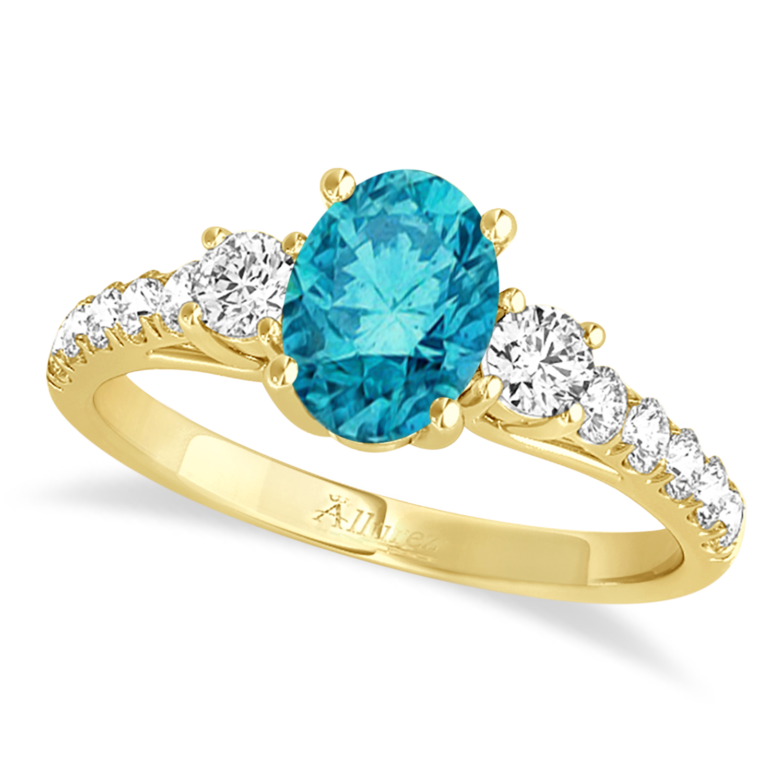 Oval Cut Blue Diamond & Diamond Engagement Ring 18k Yellow Gold (1.40ct)