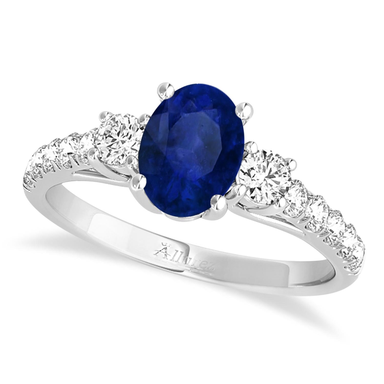 Blue Diamond Platinum: Oval Cut Blue Sapphire & Diamond Engagement Ring Platinum