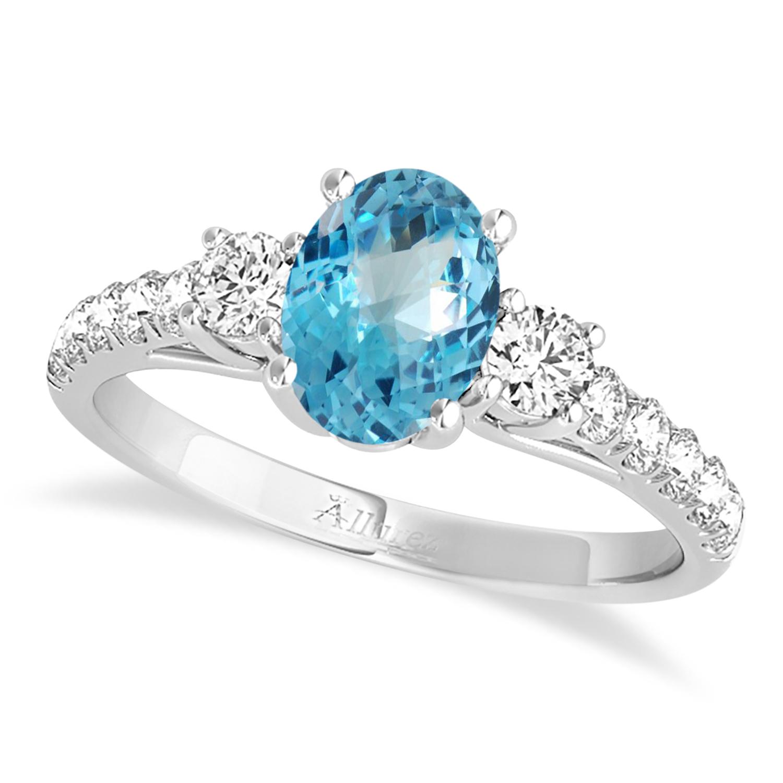 Oval Cut Blue Topaz & Diamond Engagement Ring 18k White Gold (1.40ct)