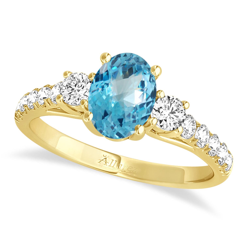 Oval Cut Blue Topaz & Diamond Engagement Ring 18k Yellow Gold (1.40ct)