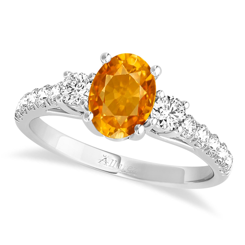 Oval Cut Citrine & Diamond Engagement Ring 14k White Gold (1.40ct)