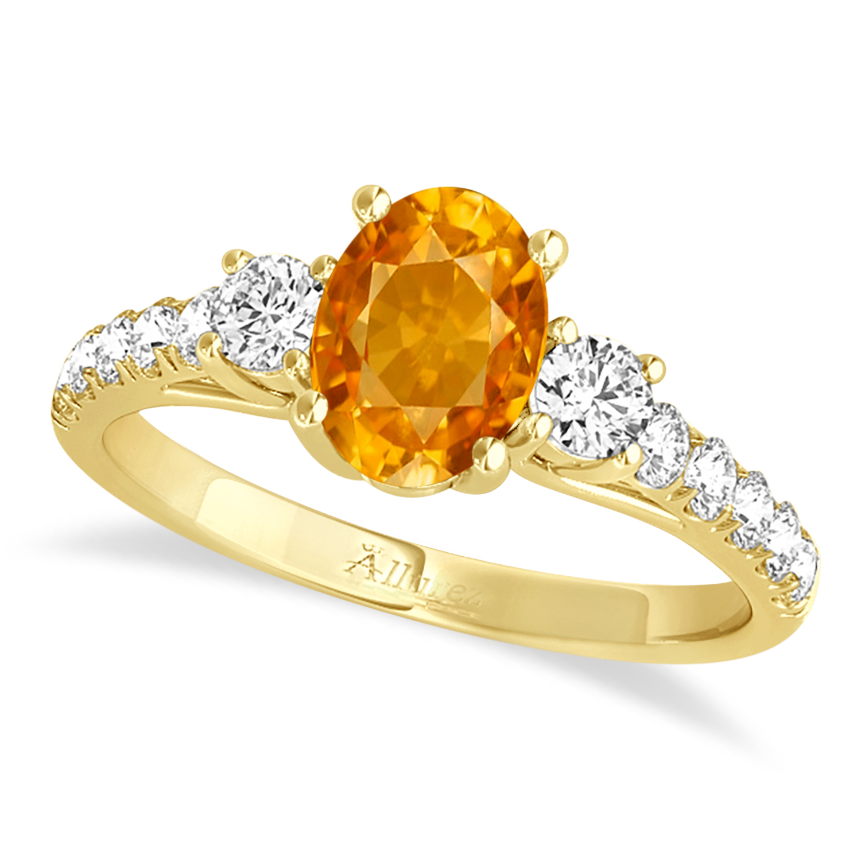 Oval Cut Citrine & Diamond Engagement Ring 18k Yellow Gold (1.40ct)