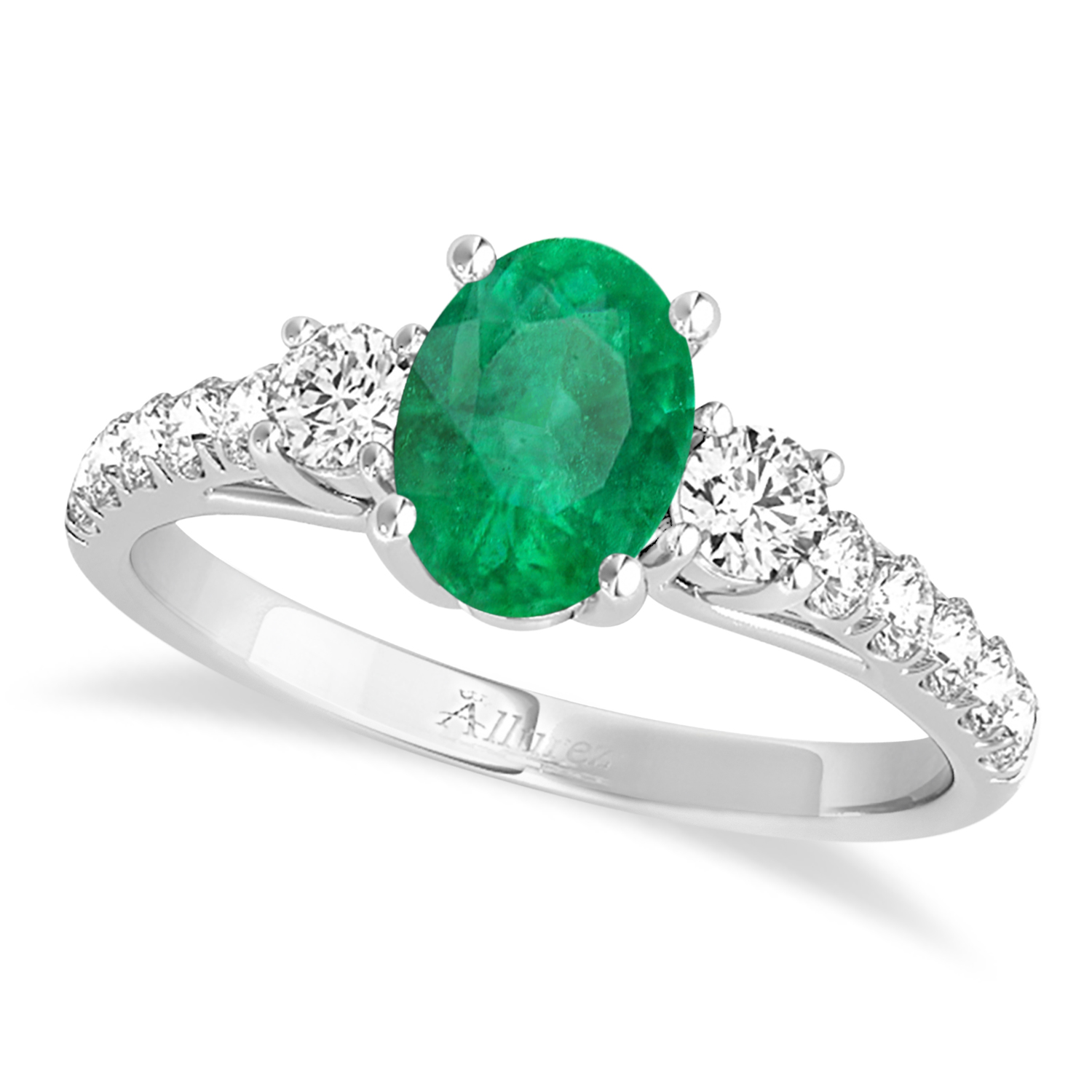 Oval Cut Emerald & Diamond Engagement Ring 14k White Gold (1.40ct)