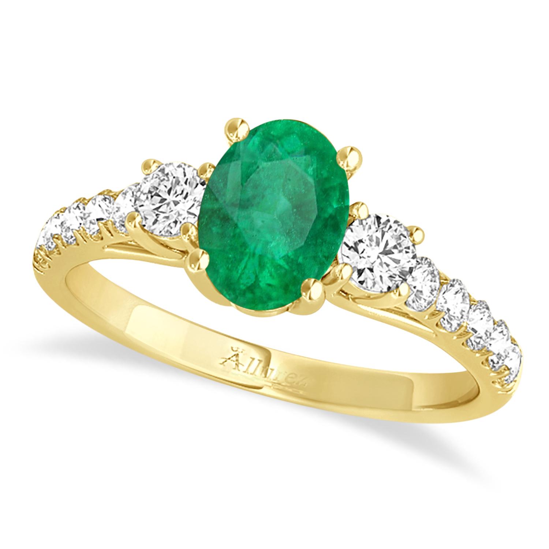 Oval Cut Emerald & Diamond Engagement Ring 14k Yellow Gold (1.40ct)