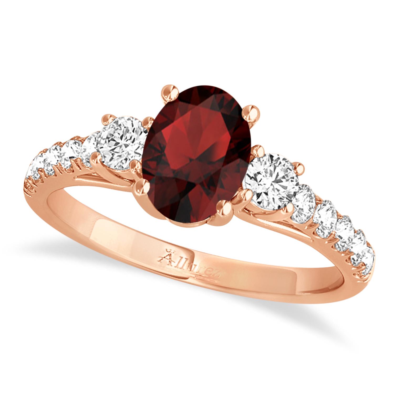 Oval Cut Garnet & Diamond Engagement Ring 14k Rose Gold (1.40ct)