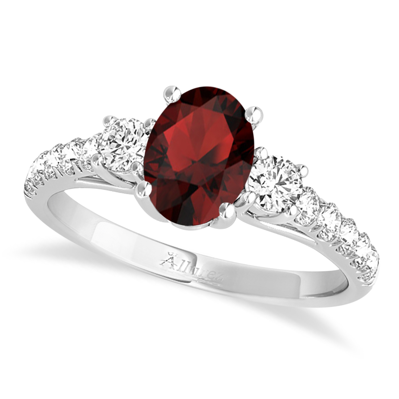 Oval Cut Garnet & Diamond Engagement Ring 18k White Gold (1.40ct)