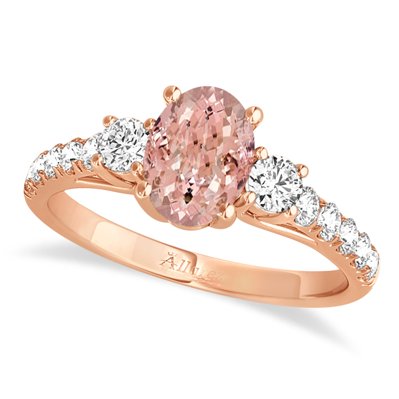 Oval Cut Morganite & Diamond Engagement Ring 14k Rose Gold (1.40ct)
