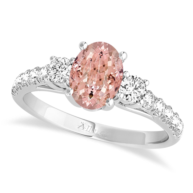 Oval Cut Morganite & Diamond Engagement Ring Platinum (1.40ct)