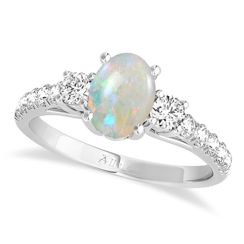Oval Cut Opal & Diamond Engagement Ring Palladium (1.40ct)
