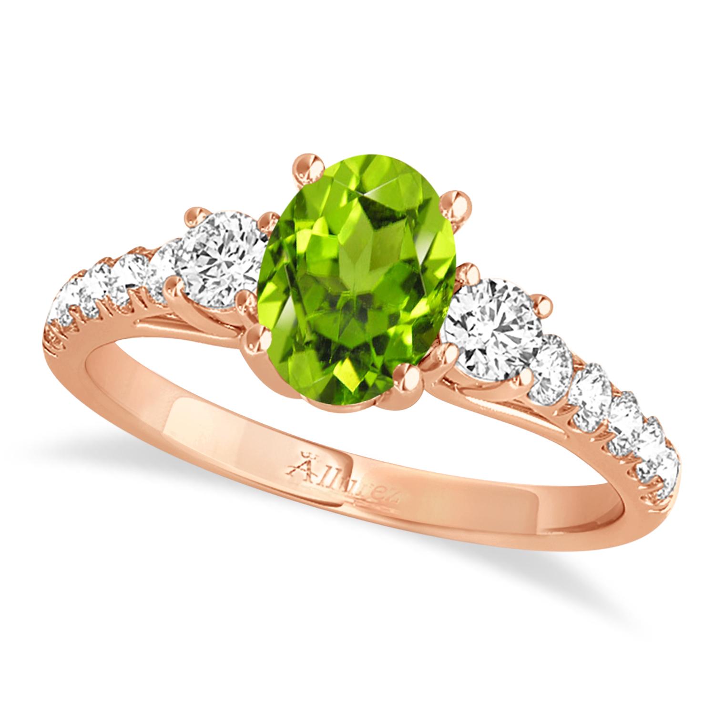 Oval Cut Peridot & Diamond Engagement Ring 14k Rose Gold (1.40ct)