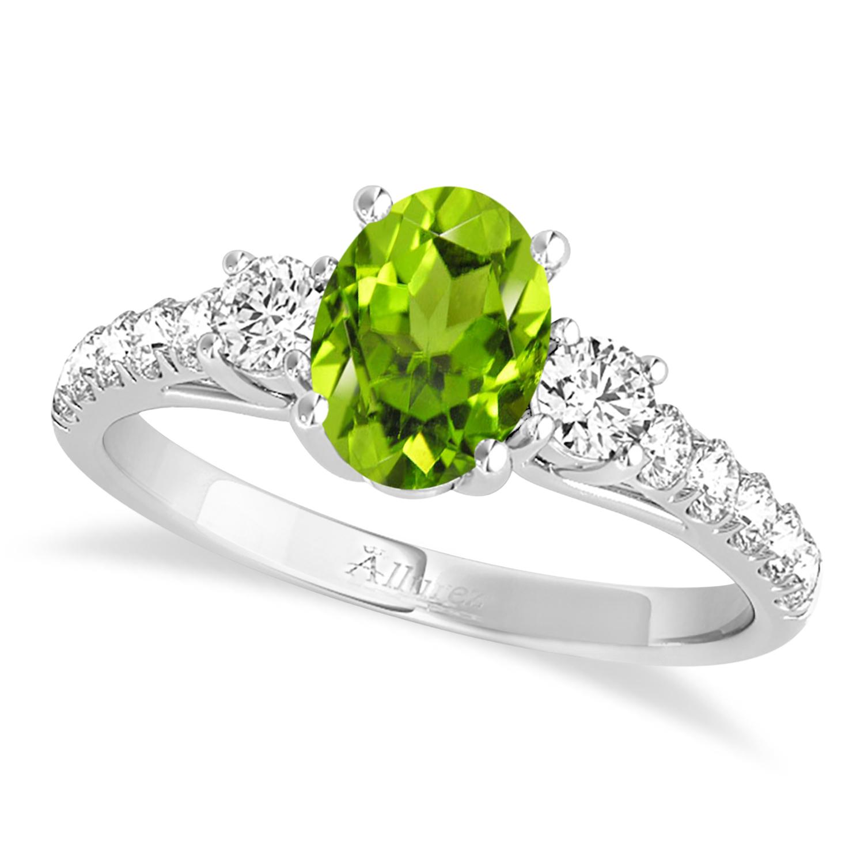 Oval Cut Peridot & Diamond Engagement Ring Platinum (1.40ct)