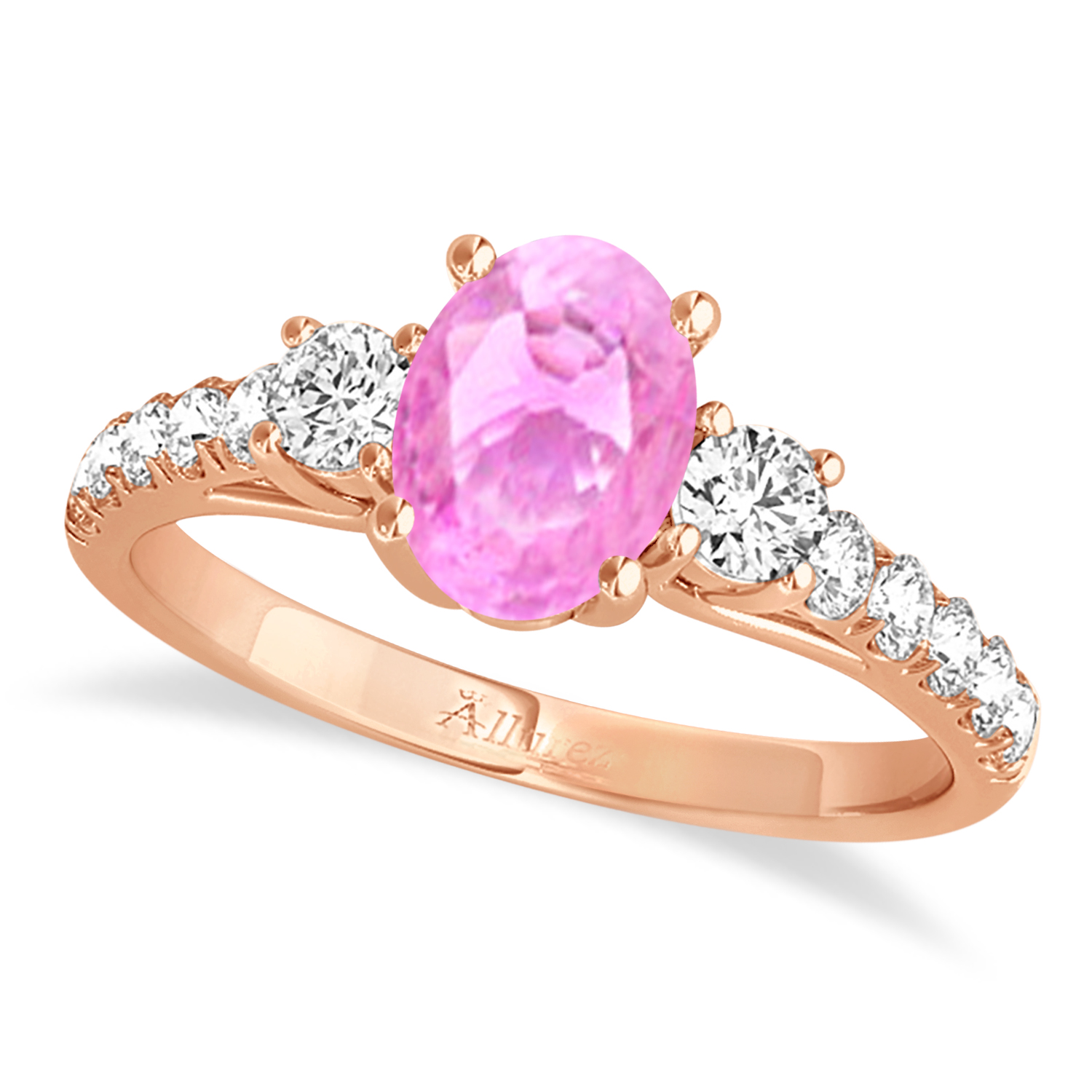 Oval Cut Pink Sapphire & Diamond Engagement Ring 18k Rose Gold (1.40ct)