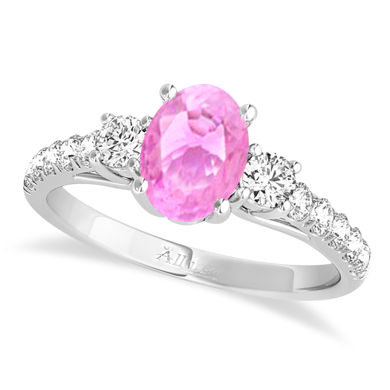 Oval Cut Pink Sapphire & Diamond Engagement Ring Palladium 1.15ct ...