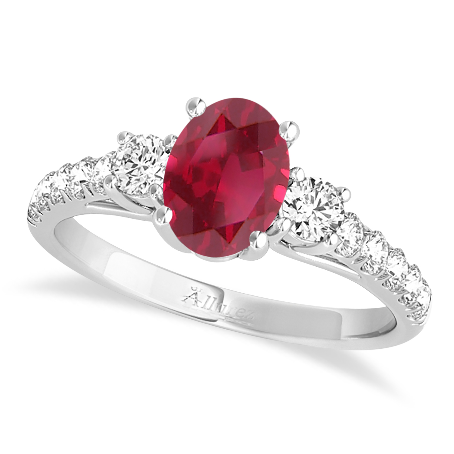 Oval Cut Ruby & Diamond Engagement Ring 18k White Gold (1.40ct)