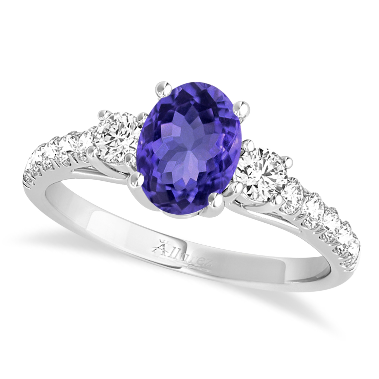 Oval Cut Tanzanite & Diamond Engagement Ring 14k White Gold (1.40ct)
