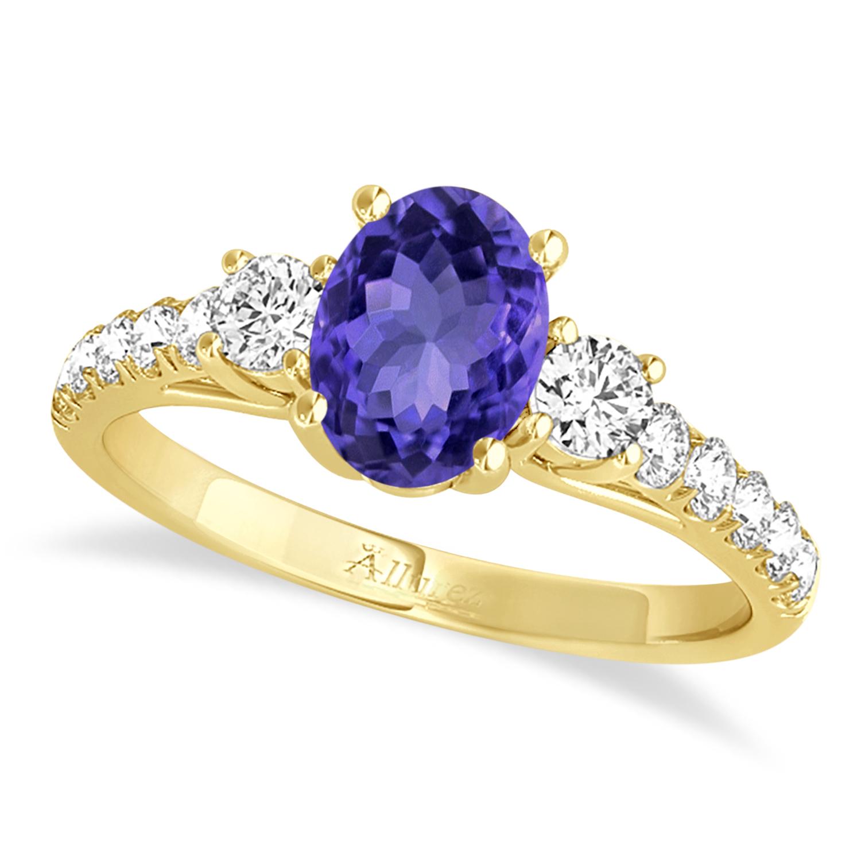 Oval Cut Tanzanite & Diamond Engagement Ring 14k Yellow Gold (1.40ct)