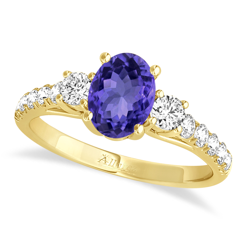 Oval Cut Tanzanite & Diamond Engagement Ring 18k Yellow Gold (1.40ct)