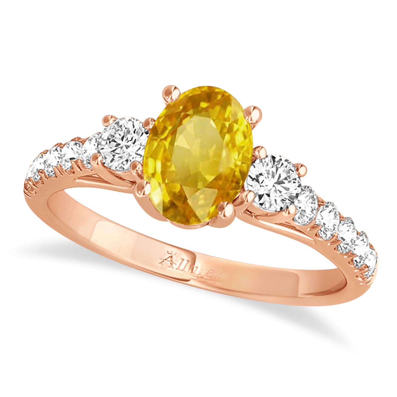 Oval Cut Yellow Sapphire & Diamond Engagement Ring 14k Rose Gold (1.40ct)