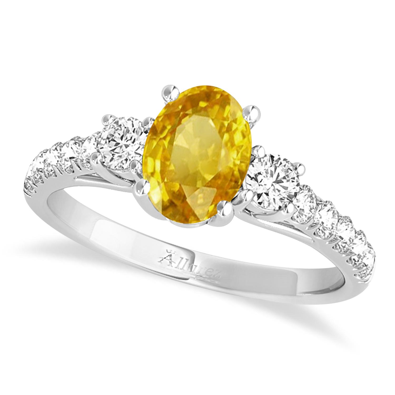 Oval Cut Yellow Sapphire & Diamond Engagement Ring 14k White Gold (1.40ct)