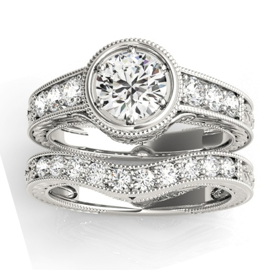 Diamond Antique Style Bridal Set Setting 14K White Gold (0.47ct)