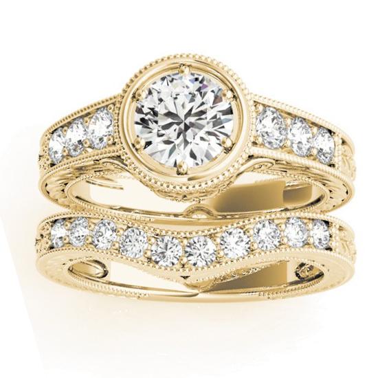 Diamond Antique Style Bridal Set Setting 14K Yellow Gold (0.47ct)