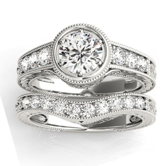 Diamond Antique Style Bridal Set Setting Platinum (0.47ct)