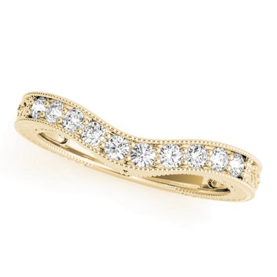 Diamond Antique Style Contoured Wedding Band 18k Yellow Gold (0.23ct)