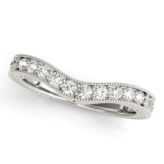 Diamond Antique Style Contoured Wedding Band Platinum (0.23ct)