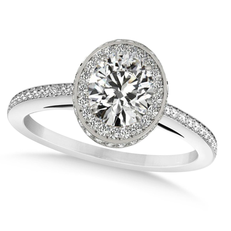 Oval Diamond Halo Engagement Ring 14k White Gold (1.71ct)