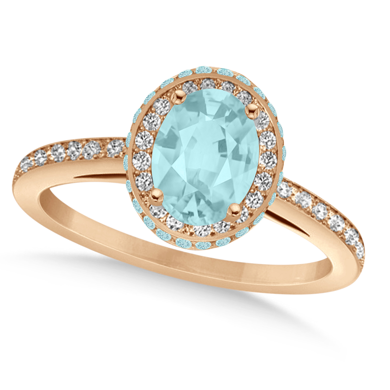 Oval Aquamarine & Diamond Halo Engagement Ring 14k Rose