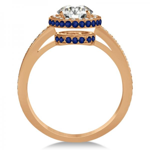 Diamond Halo Engagement Ring Blue Sapphire Accents 14k R. Gold 0.50ct