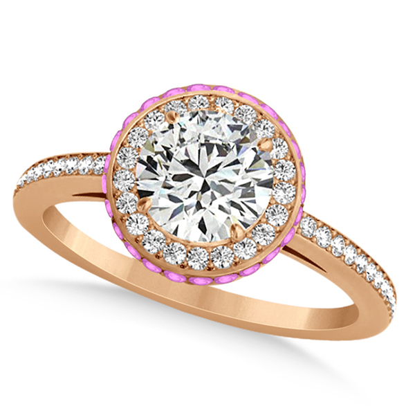 Diamond & Pink Sapphire Gemstone Engagement Ring 14k Rose Gold 1.50ct