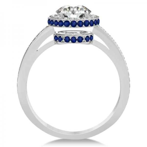Diamond Halo Engagement Ring Blue Sapphire Accents 14k W. Gold 0.50ct