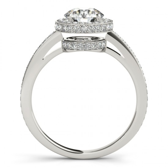 Halo Diamond Engagement Ring Setting Shank Accents 14k W. Gold 0.50ct