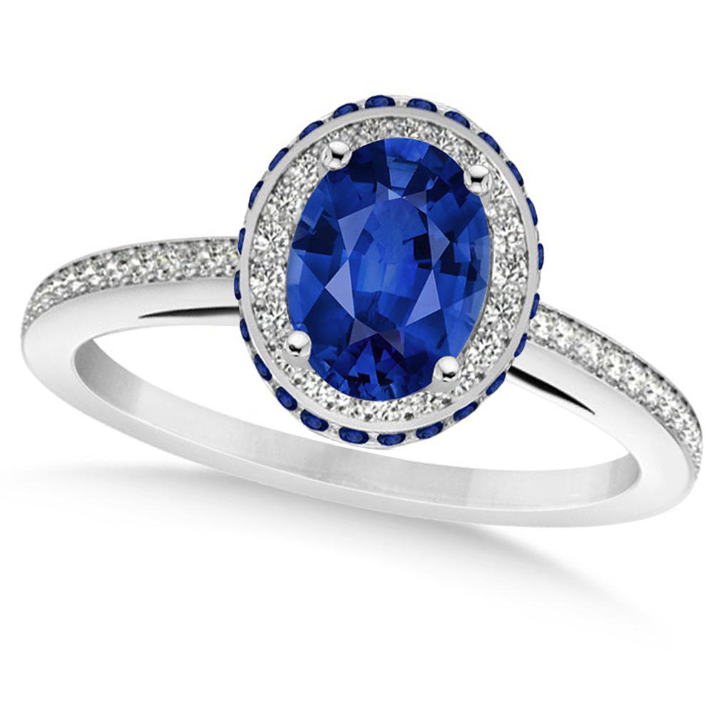 oval blue sapphire diamond halo engagement ring 14k white