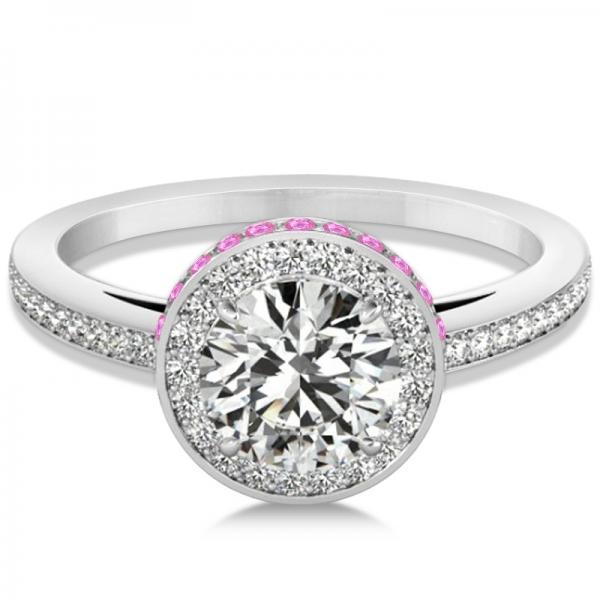 Diamond & Pink Sapphire Gemstone Engagement Ring 14k White Gold 1.50ct