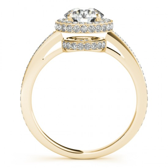 Halo Diamond Engagement Ring Setting Shank Accents 14k Y. Gold 0.50ct
