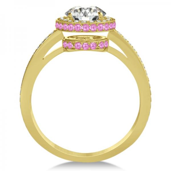 Diamond & Pink Sapphire Gemstone Engagement Ring 14k Yellow Gold 1.50ct