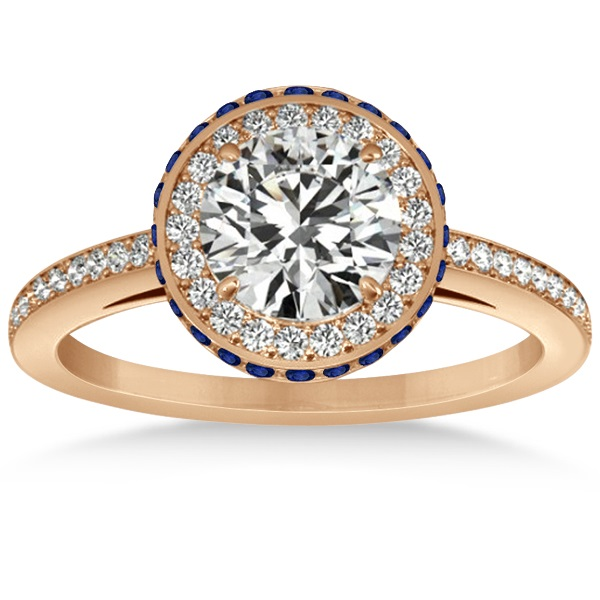 Diamond Halo Engagement Ring Blue Sapphire Accents 18k R. Gold 0.50ct