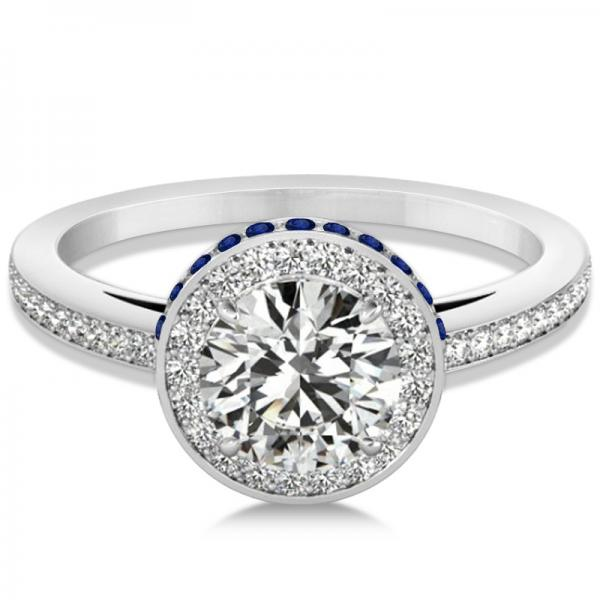 Diamond Halo Engagement Ring Blue Sapphire Accents 18k W. Gold 0.50ct
